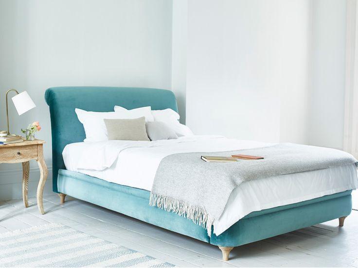 Dumpling bed in our Sea Blue vintage velvet