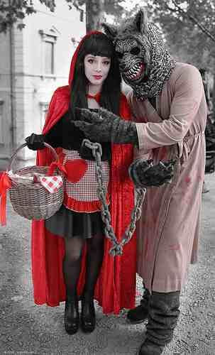 Little Red Riding Hood costume for cosplay conventions, Halloween or fancy dress parties. Including everything from her wig, basket, cloak and makeup.