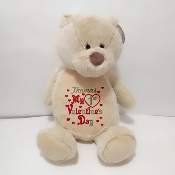 My First Valentine S Day Teddy Soft Toy Embroidered Bear Personalised Valentine S Personalized Valentine Gifts Valentines Day Teddy Bear Valentines For Kids
