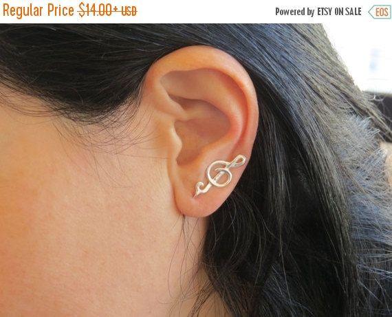ON SALE - Music earrings, ear cuff jewelry, ear cuff pierced earrings, treble clef earrings, music note earrings by DvoraSchleffer on Etsy https://www.etsy.com/nz/listing/225667748/on-sale-music-earrings-ear-cuff-jewelry