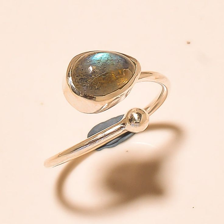 92.5% SOLID STERLING SILVER ANTIQUE LOOK LABRADORITE RING (Adjustable)  #Handmade