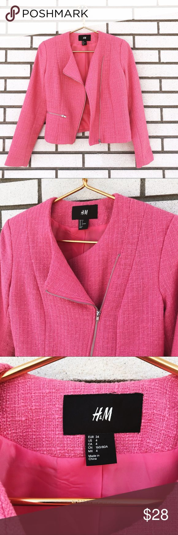 H&M Woven Pink Zip Up Blazer H&M Woven Pink Zip Up Blazer Bubblegum pink blazer jacket. Angled off center exposed zipper. Non functional zipper pocket detail. Woven fabric. Fully lined. Size 4. Excellent used condition. H&M Jackets & Coats Blazers