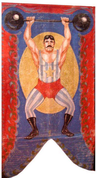 vintage strong man banner, carnival, side show