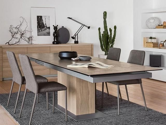 SINCRO Dining Table Extendable Up To 12 People Wood Ceramic