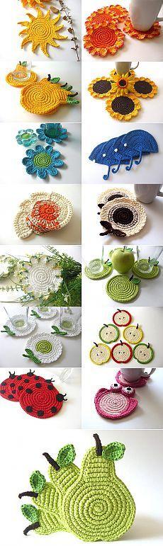 Оригинальные подставки под стаканы и чашки вязаные крючком