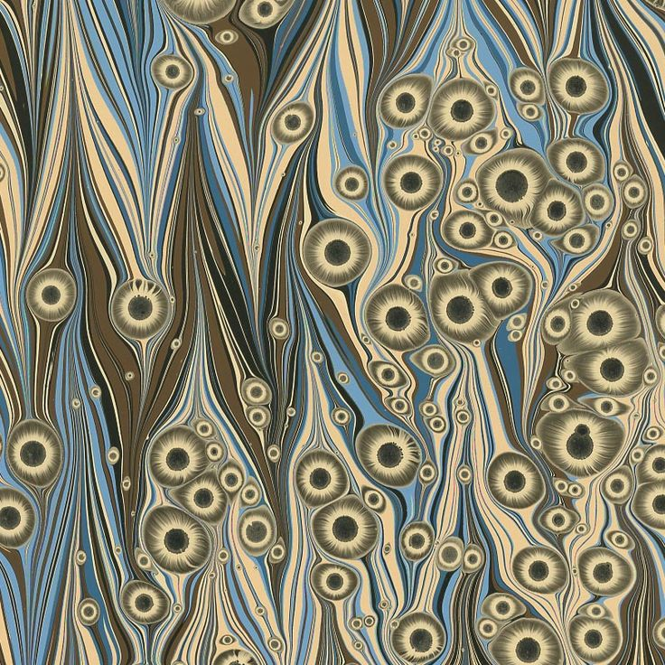 16th century marbling techniques are combined with modern materials and aesthetics to create these refined marbled papers with sophisticated colors and metallic accents. Hand marbled in Brazil. The Sun Spot (or Tiger's Eye) pattern was created in approximately 1855. To make this unique design a special solution is added to the marbling bath causing the spots to morph and resemble eyes with dark irises at the center and feathering rays around it. If you would like a full sheet rather than a…