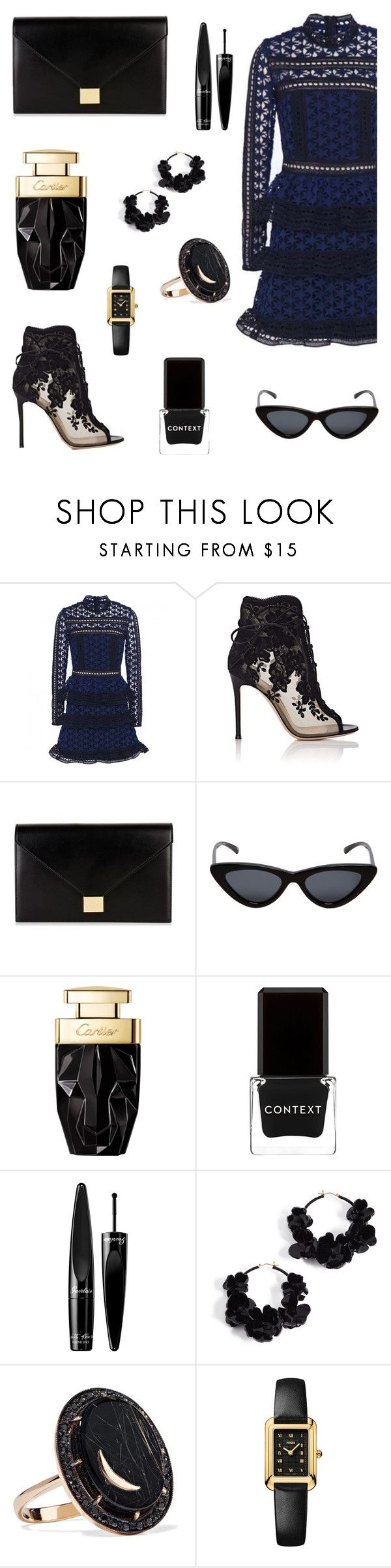 """""""new york new york"""" by the-vintage-palace2016 ❤ liked on Polyvore featuring Gianvito Rossi, Victoria Beckham, Le Specs, Context, Guerlain, Oscar de la Renta, Andrea Fohrman and Fendi"""