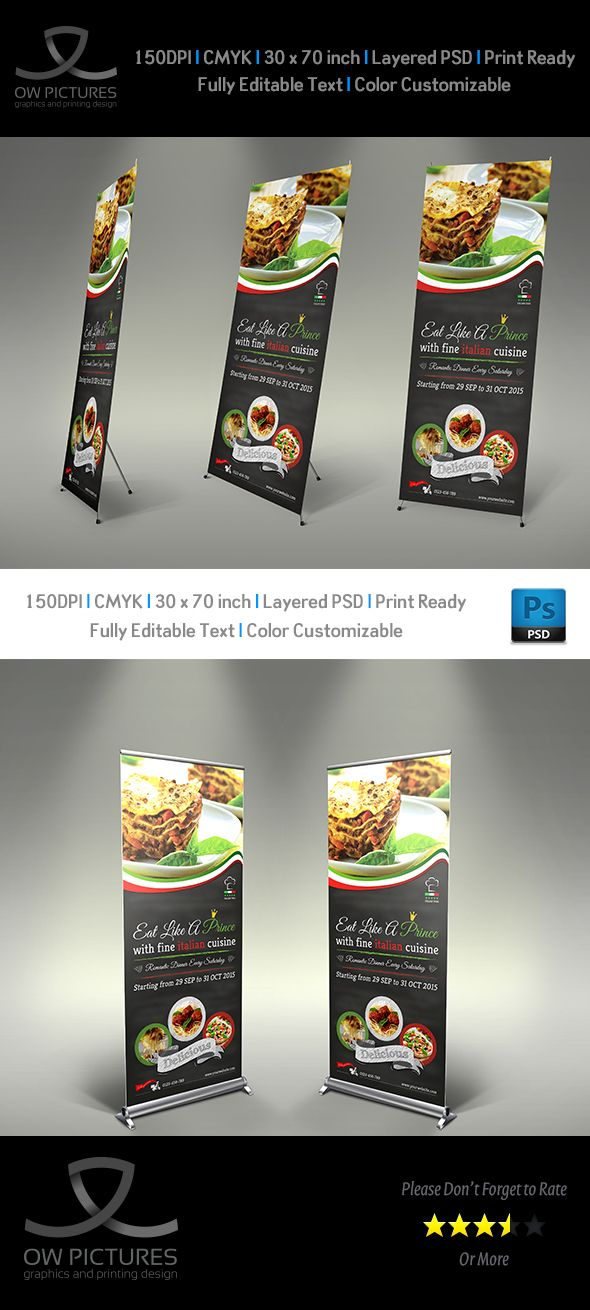 Italian Restaurant Signage Roll Up Template on Behance