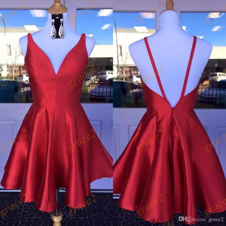 Semi Formal Dresses 2017 with V Neck And Sexy Back Real Picture Red Satin Short Homecoming Dress Custom Made 2k17 Prom Dresses 2k17 Homecoming Dresses Formal Dresses Online with $105.15/Piece on Grace2's Store | DHgate.com