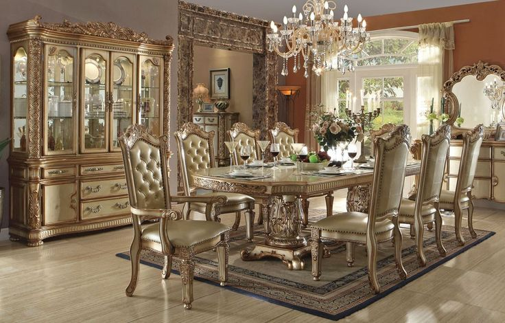 Vendome Gold Formal Dining Table Set - Dining Room - Furniture Stores Los Angeles