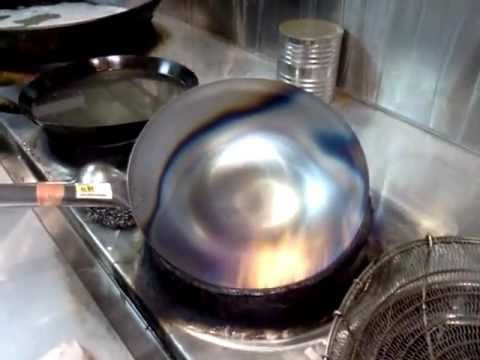 Bought a carbon steel wok, before using it, it has to be seasoned. But how ? No worries, I brought it to my friend restaurant, the professional chef season the wok for me. The final product is a carbon steel wok that will not stick. Way better than the poisonous non-stick pan people buy in the store