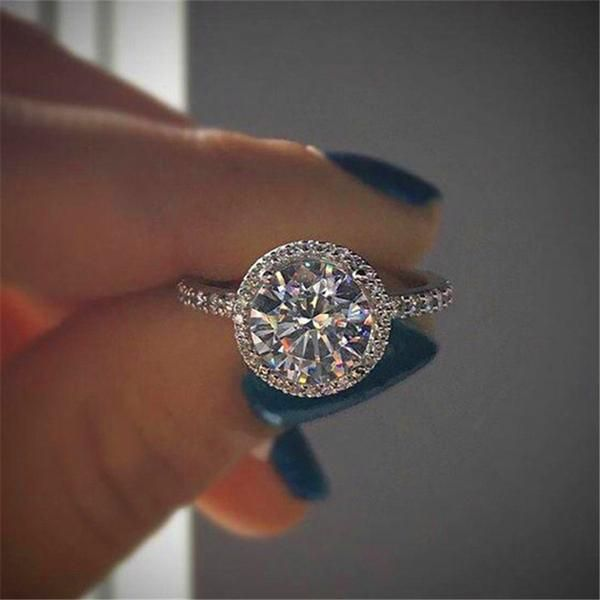 Luxury Female Cz Stone Ring 925 Silver 18kt Rose Gold Filled