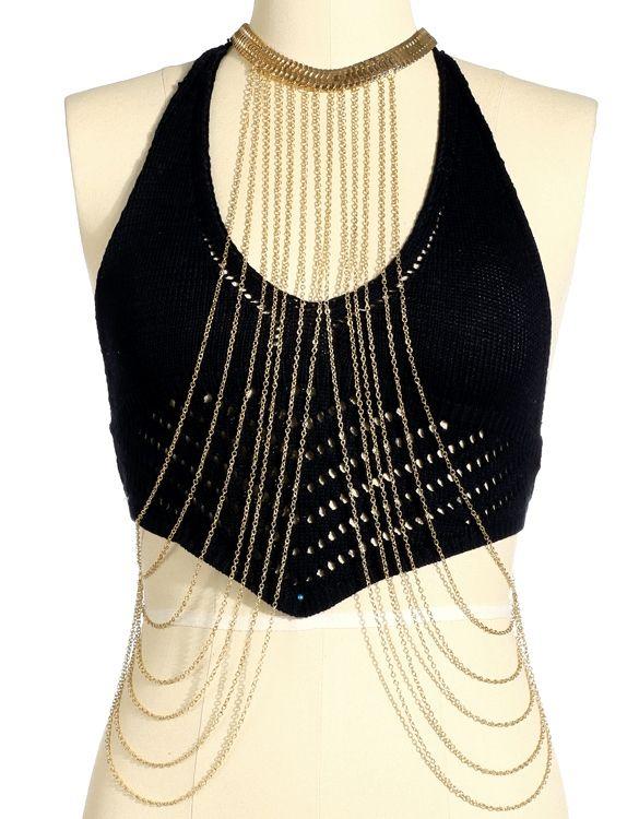 Women Sexy Golden Crossover Body Chain Round Collar Body Necklace