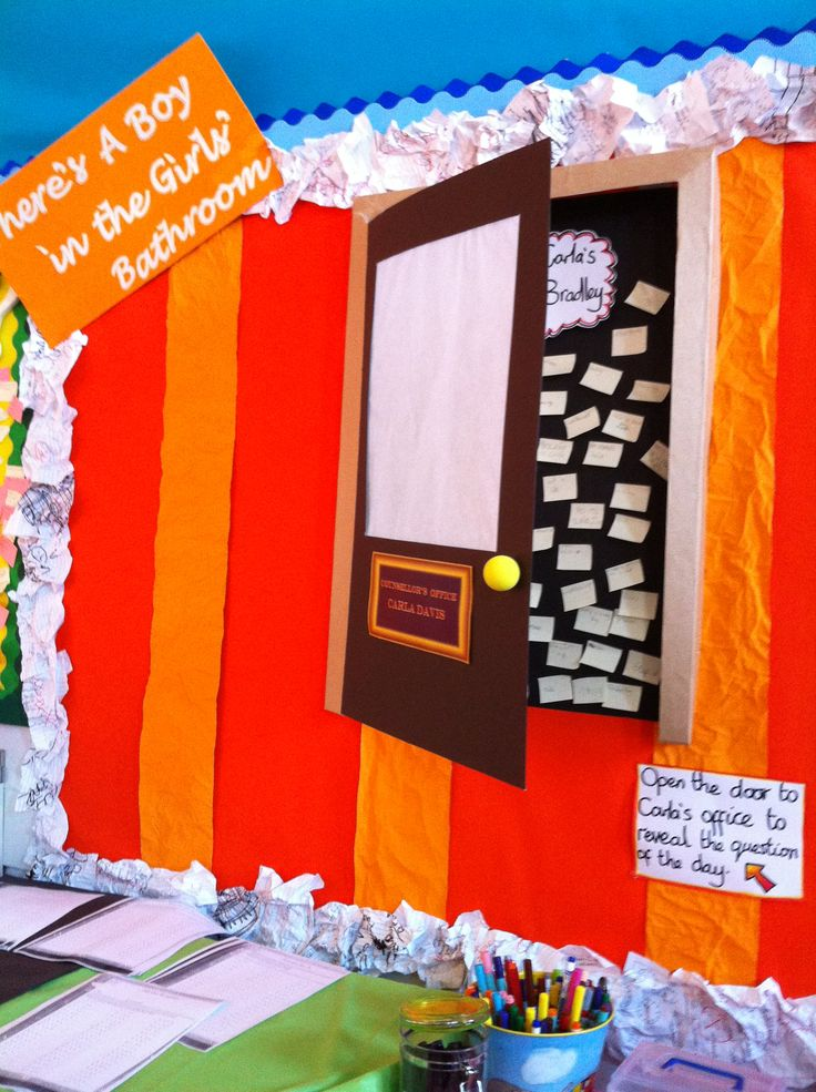 Literacy Display For 39 There 39 S A Boy In The Girls Bathroom 39 Made The Door To Carla 39 S Office