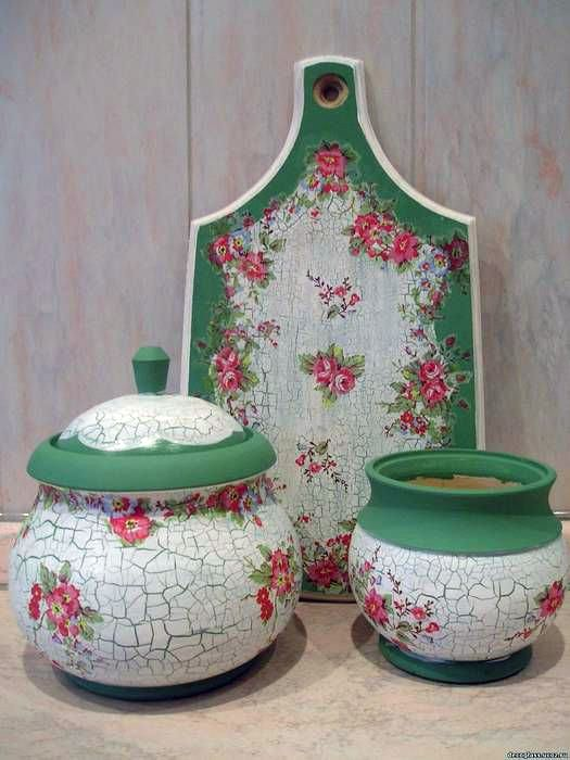 Decoupage. Inspiration. Love pink & green too.