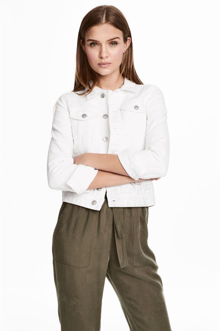 Denim jacket - White denim - Ladies | H&M GB