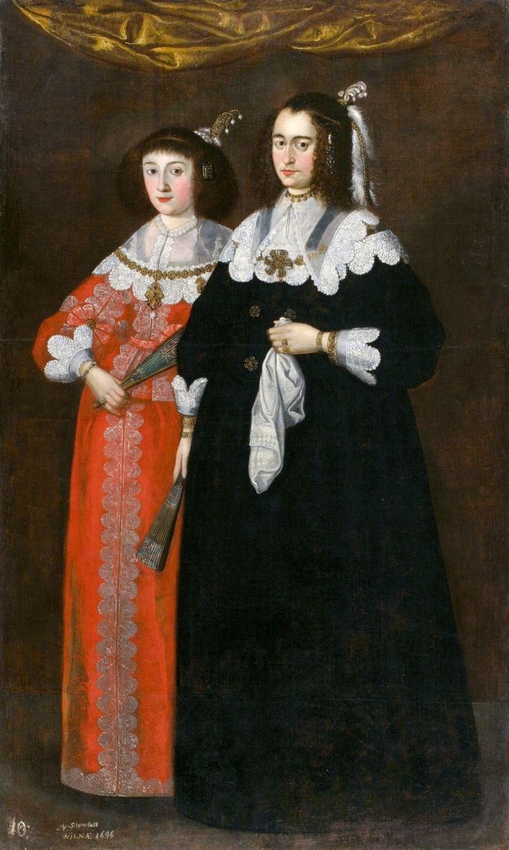 Portrait of Catherine Potocka and Maria Lupu, two wives of Janusz Radziwiłł (1612–1655) by Johann Schröter, 1646 (PD-art/old), National Arts Museum of the Republic of Belarus
