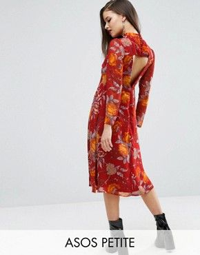 ASOS PETITE Midi Dress in Botanical Rose Floral With Open Back