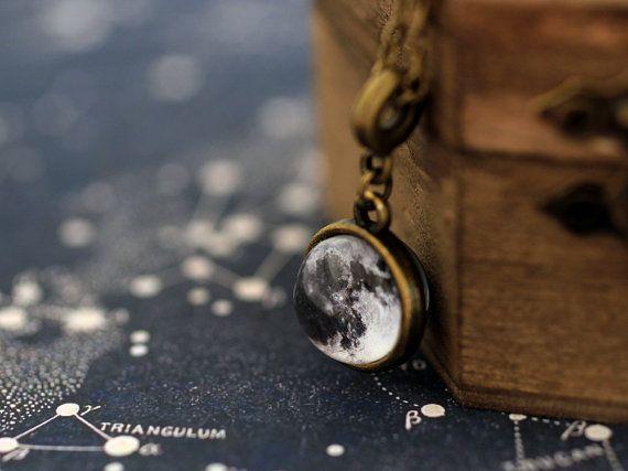Dos cara Luna collar collar de luna joyas de por SunAndStarsJewelry