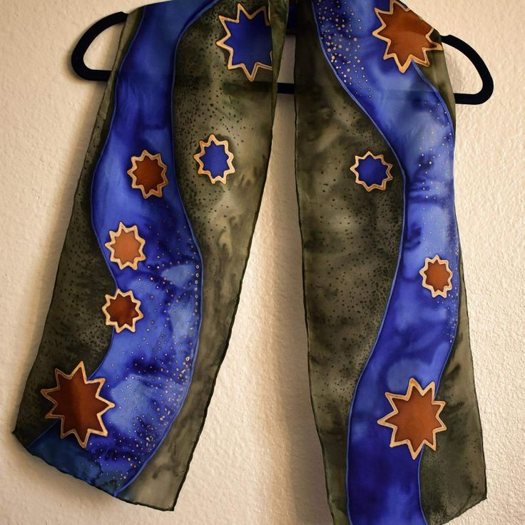 Purple and Moss Green Nine-pointed Star Scarf,  8x54 inches,  Habotai Silk with gold resist   http://www.raebirdcreations.com/store/p137/Purple_and_Moss_nine-pointed_stars.html