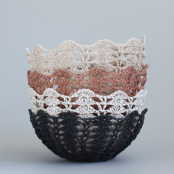 Crochet bowl.  Beautiful vintage hardened resin crochet bowls.  These can be diplayed on a bookshelf, or used to serve bread rolls and fruit.  Comes in copper shimmer, black, chalky white and dusty rose gold. | The Woven Trail