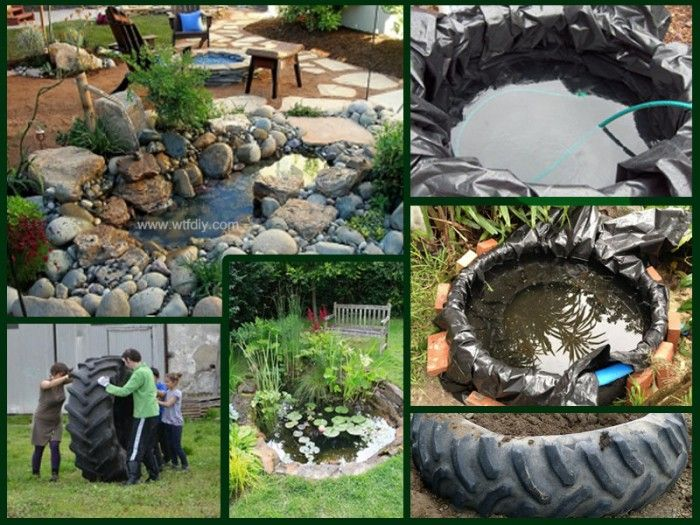 if you are looking for a new landscaping this tractor tire garden pond could be the idea tractor tires are perfect supplies for a garden pond - Garden Ideas Using Tyres