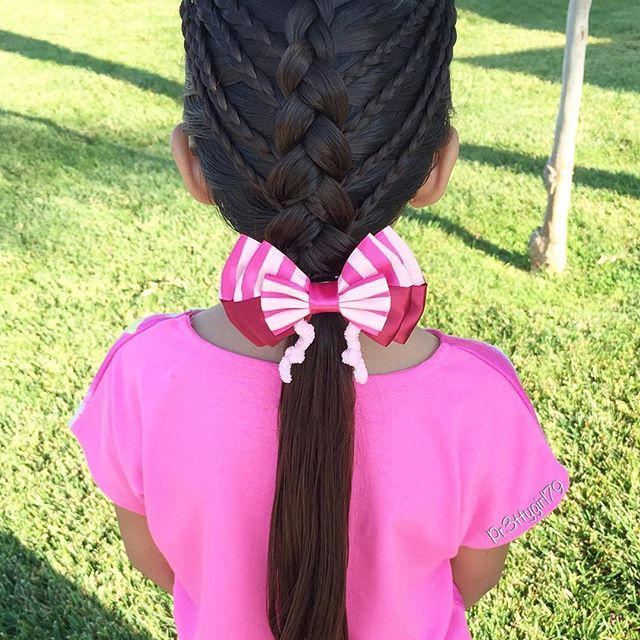 "✨""Don't make a habit of choosing what feels good over what is actually good for you.""✨ . Dutch braid with micro braids 💕 . Beautiful Despicable me custom made Edith bow from @extrasweetbowtique 🎀 . #pr3ttyhairstyles #extrasweetbowtique #braidsforlittlegirls #cghphotofeature #sweetheartshairdesign #abc7eyewitness #braidsforgirls #dutchbraid #trenza #braids #braidideas #braid #braidstyles"