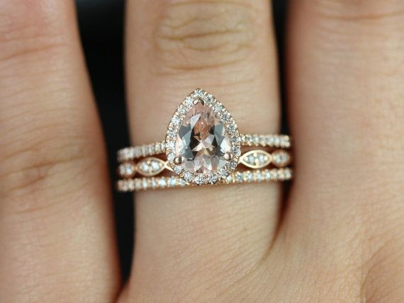 Tabitha and Christie TRIO 14kt Rose Gold Thin Pear Morganite and Diamonds Halo Wedding Set (Other metals and stone options available)