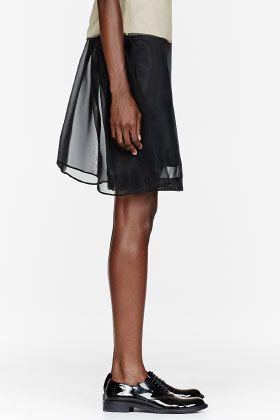 ..SIMONE ROCHA Black Mesh Crin Plain Skirt..