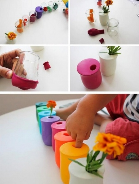 Use balloons to jazz up mini vase, or small cup turned vase!
