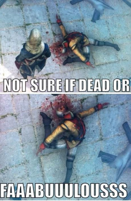 Playing Assassin Creed and found this guy after he fell off the roof