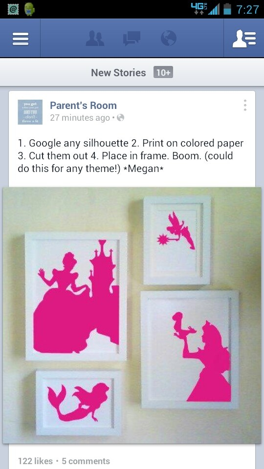 Kids room idea - Princess silhouette. But this could always work for a boy's theme as well.  Think super heroes.