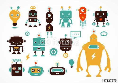 Vektor: Robot cute icons and characters