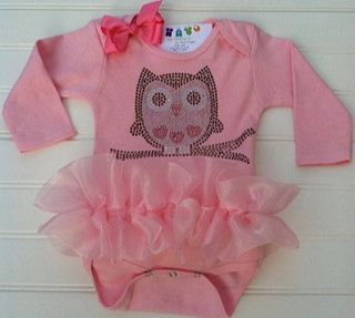 Owl Heart Rhinestone Tutu Onesie  Available in 0-3 months through 6-12 months. $23.00, via Etsy.