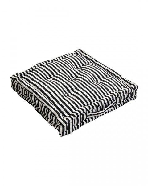 Sitzkissen Schmale Streifen Schwarz 40 x 40 x 10 cm
