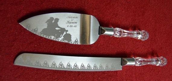 Flaming Motorcycle Biker Wedding Cake Knife and by AaronEtches
