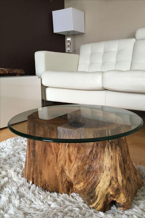 plateau de table en verre securit - Table Basse Tronc D Arbre