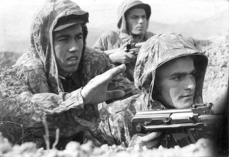 Soldiers of the Albanian People's Army on training.