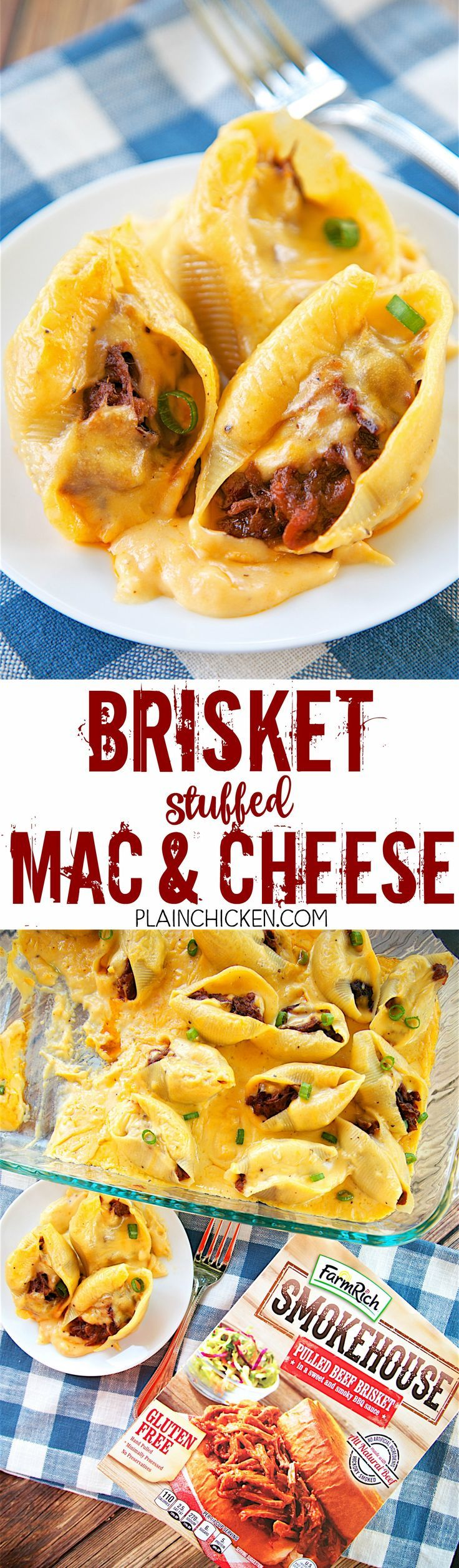 Brisket Stuffed Mac and Cheese - CRAZY good! Jumbo pasta shells stuffed with FarmRich Smokehouse Pulled Beef Brisket and topped with a quick homemade cheese sauce (butter, flour, milk and cheese). Everyone cleaned their plate! Ready in under 30 minutes! We made it twice in one week! SO good!