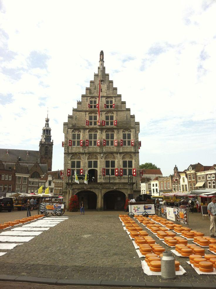 Kaas op het plein met op de achtergrond de oude stadhuis van Gouda