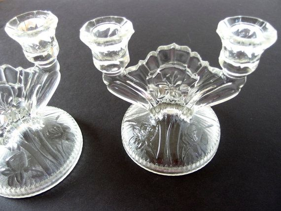 Vintage Tall Clear Glass Candle Holder Rings