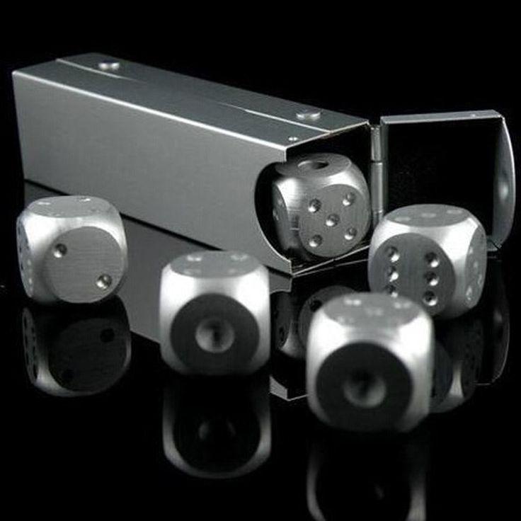 Hoge Kwaliteit Aluminium Poker 5 stks Zilver Kleur Solid Dominostenen Metal Dice Game Draagbare Dobbelstenen Poker Party
