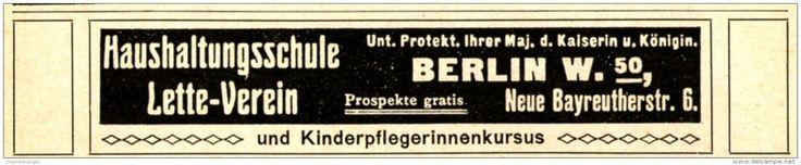 Original-Werbung/ Anzeige 1915 - BERLIN HAUSHALTUNGSSCHULE LETTE - VEREIN - ca. 110 x 20 mm