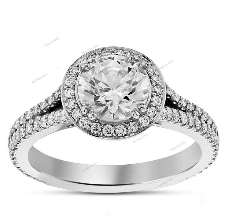 D/VVS1 14K White Gold Fn 925 Silver White Round Diamond Women's Engagement Ring…