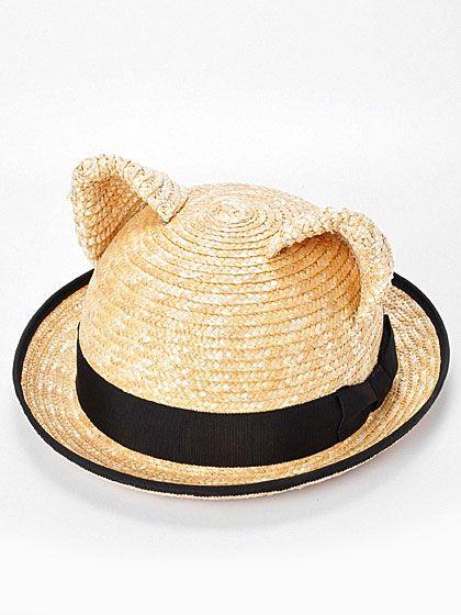 Straw cat ears bowler hat. I d definitely wear this.  bcf09cca184