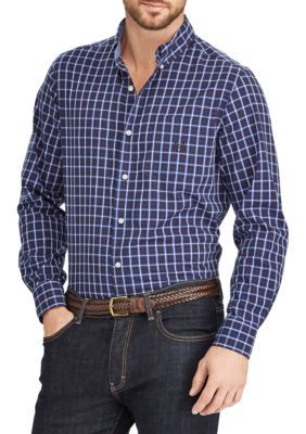 Chaps Men's Plaid Cotton-Blend Shirt - Newport Navy - 2Xl