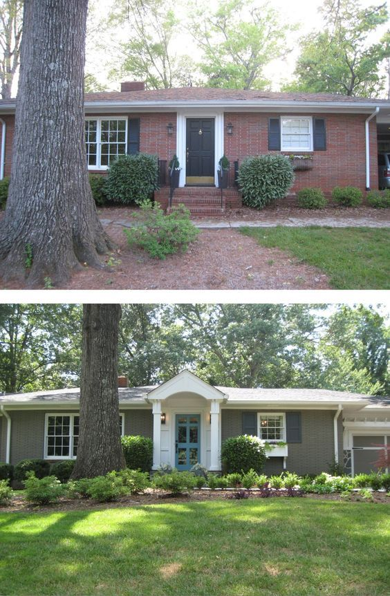 Before & After: Painted Brick Ranch Style Home - Brick, Sherwin Williams Backdrop 7025; Trim, Sherwin Williams Extra White 7006; Shutters, Sherwin Williams Black Fox 7020; Front Door, Aqua (Custom Mix).: