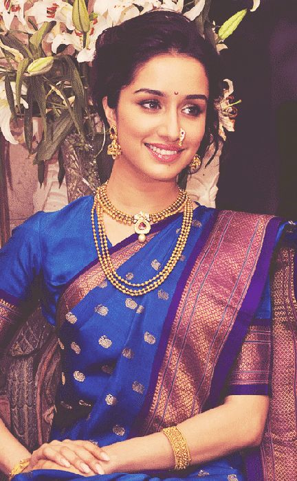 #shraddha kapoor. Blue sari saree. Indian South Asian desi fashion.
