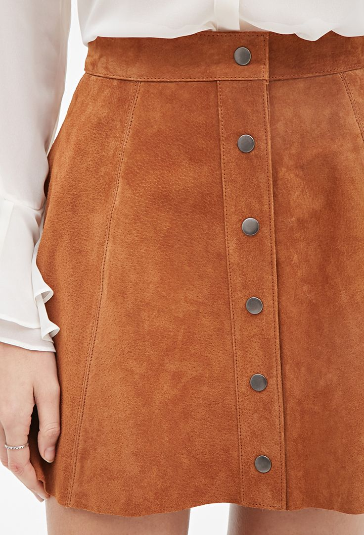 Buttoned Suede Skirt | LOVE21 - 2000116977