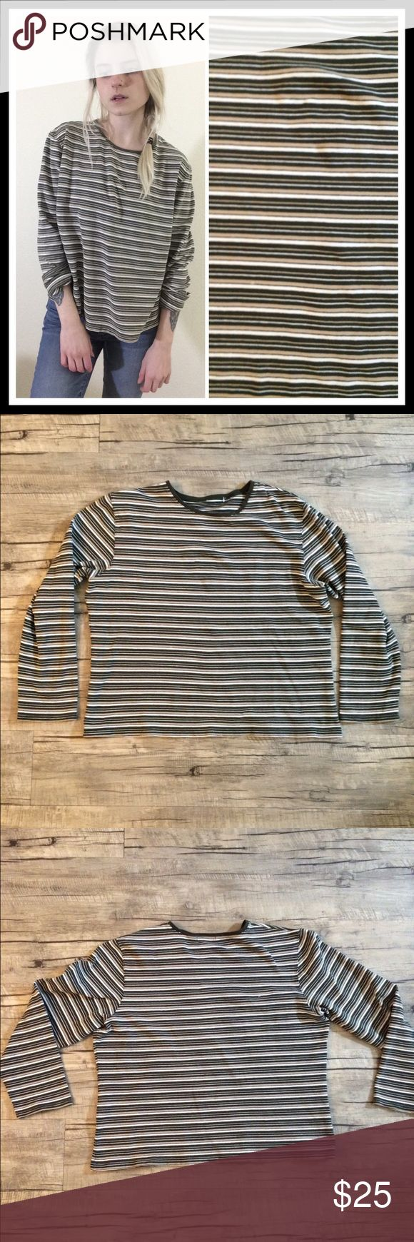 """➕90's VTG Striped Tomboy Long Sleeved Tee➕ ➕MEASUREMENTS➕ Bust-44"""" Length- 22""""  ➕DETAILS ➕ ▪️Model is 5' 5"""" and is a size XS▪Great worn condition▪️No tagged size or brand, fits like M/L🔺NO TRADES🔺❌NOT UNIF❌ #90s #grunge #oversized #vintage #striped #slouchy UNIF Tops Tees - Long Sleeve"""